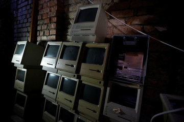 Macintosh SE computers sit in the storage of Austrian Apple computer collector Borsky in Korneuburg