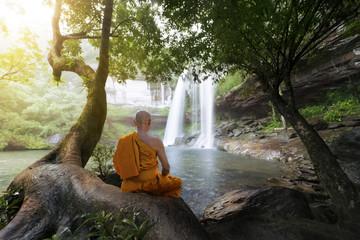 Monk practice meditation at beautiful waterfall
