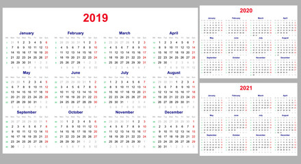 Calendar grid for 2019, 2020 and 2021 years set. The week starts on Monday. One day off - Sunday. Simple horizontal template in English.