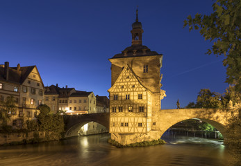 Historic town hall of Bamberg, Bavaria, Germany, at blue hour