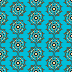 Seamless pattern with abstract floral elements in retro style. Textile fabric, printing and many other areas of designs.