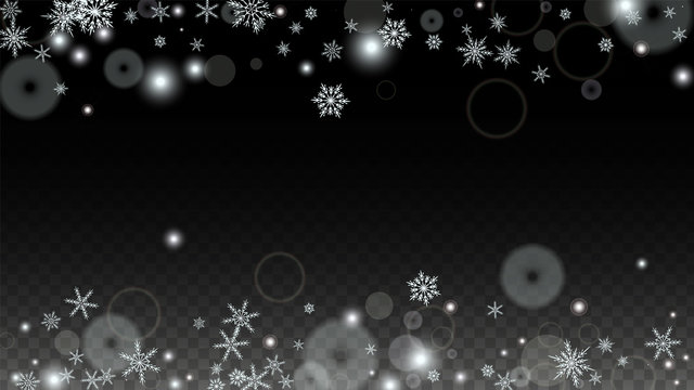 Christmas  Vector Background with White Falling Snowflakes Isolated on Transparent Background. Realistic Snow Sparkle Pattern. Snowfall Overlay Print. Winter Sky. Design for Party Invitation.