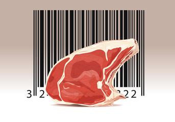 Concept du contrôle alimentaire avec une cote de bœuf associé à un code barre.