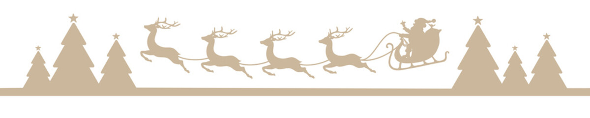 Banner Flying Christmas Sleigh Forest Beige