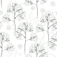 Floral seamless pattern with trees on a white background.  Monochrome vector illustration. Sketch.