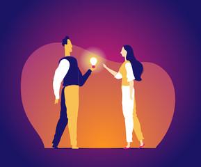 A man gives a bright idea to a girl