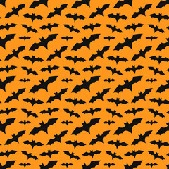 Bats colony orange seamless pattern
