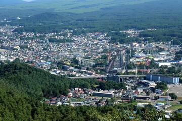 Yamanashi Prefecture, Japan - July 10, 2017: View of Fujiyoshida town looking from Chureito Pagoda.