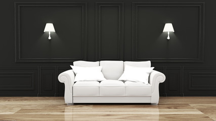 Empty luxury room interior with sofa in room black wall on wooden floor. 3D rendering