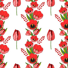 Seamless vector pattern with red tulips on white background. Illustration. For fabric, Wallpaper, postcards