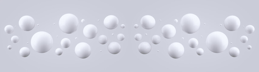 Shiny balls with different size on simple gradient background. Glossy bubbles in empty space. Abstract ultra wide composition with chaotic floating spheres. 3d rendering