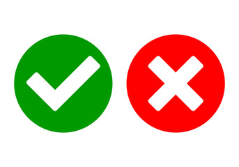 Check mark vector. green check mark and red cross.