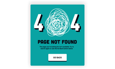 404 error page not found Template. Broken/Lost Website Page. Scribble