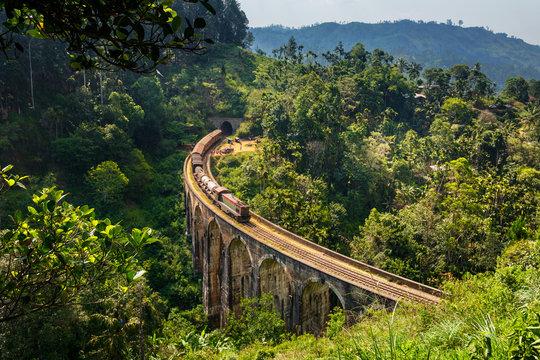Cargo Train on the Nine Arch Bridge in Sri Lanka - very popular place in Ella
