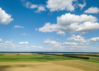 Wall Mural - Summer landscape with agricultural fields, harvesting on a backgground of the blue sky and white clouds in a sunny day. View from drone.