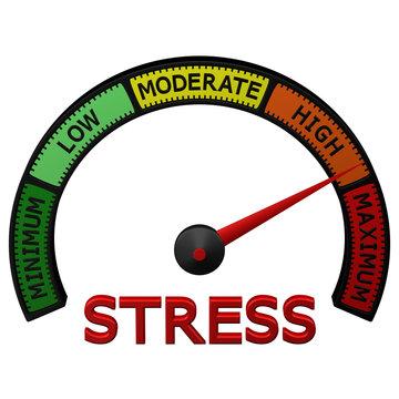 Stress meter with arrow. 3D rendering.
