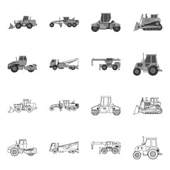 Vector illustration of build and construction symbol. Collection of build and machinery stock vector illustration.
