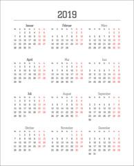 Kalendarium für 2019