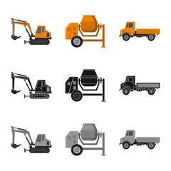 Vector illustration of build and construction symbol. Set of build and machinery stock vector illustration.