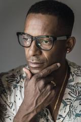 Portrait of black man in eyeglasses