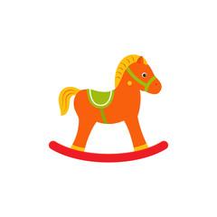 Rocking horse baby toy in flat design. Vector cartoon illustration.