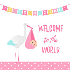Baby Shower girl card. Vector. Sweet pink banner with stork, kid, flags, polka dot pattern. Baby girl birth party poster in flat design. Cute template invite background. Colorful cartoon illustration.