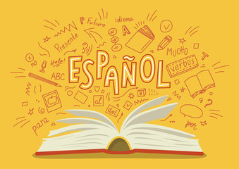 """Espanol. Translation """"Spanish"""". Open book with language hand drawn doodles and lettering. Education vector illustration."""
