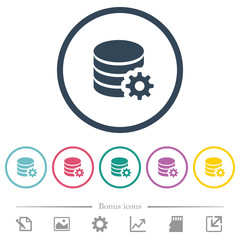 Database configuration flat color icons in round outlines