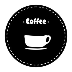 Cup of coffee with coffe beans vector illustration
