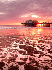 Sunset at the Santa Monica pier