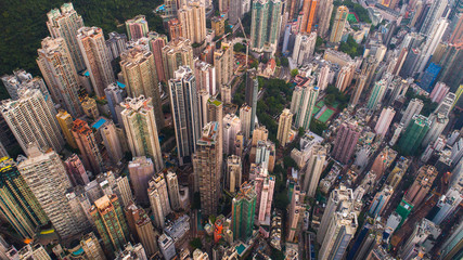 Aerial view of buildings in Hong Kong, China