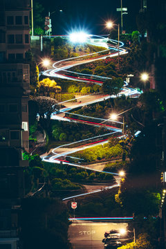 Lombard Street at night