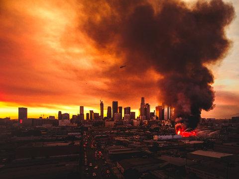 Pallet yard fire in Los Angeles