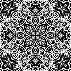 Decorative Flowers in Black & White, Floral decorative ornate Background tribal tattoo graphic mandala design