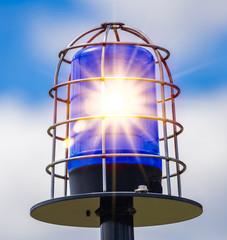 Rundumleuchte blau leuchtet polizei alarm blaulicht