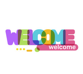 Welcome text colored rainbow concept.