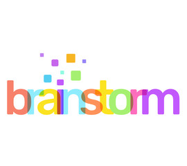 Brainstorm text colored rainbow concept on white background. Vector creative illustration of brainstorm business word lettering typography with decor element.