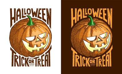 Halloween retro vintage pumpkin Jack-o-lantern. Color vector in the style of engraving. Worn textures on a separate layer.