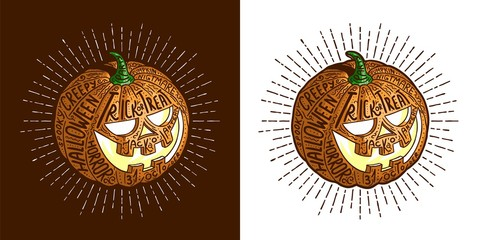 Halloween smiling retro pumpkin with fine detailed lettering on the surface. Vector hipster illustration.