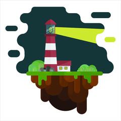 Fototapeta Lighthouse on a flying island | Latarnia morska na latającej wyspie obraz