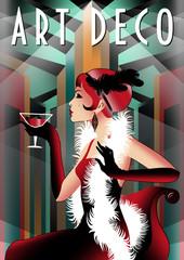 Retro party invitation card. Handmade drawing vector illustration. Art Deco style.
