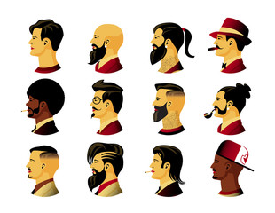 Collection of profile portraits or heads of male cartoon characters with various hairstyles and costumes isolated on white background. Set of avatars. Vector illustration in flat style