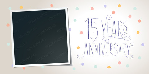 15 years anniversary vector icon, logo. Template design element