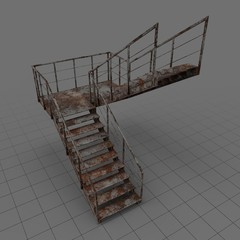 Rustic c shaped industrial staircase