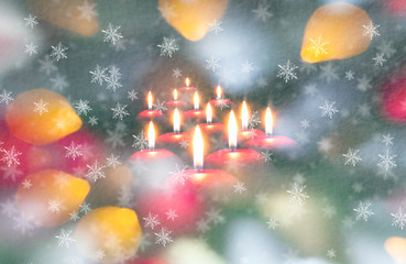 Christmas decoration on abstract background with bokeh