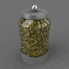 Glass canister filled with lentils