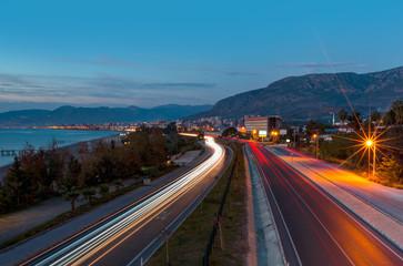 Long exposure photo of traffic on the move -Alanya, Turkey