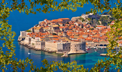 Historic town of Dubrovnik panoramic viewthrough leaf frame