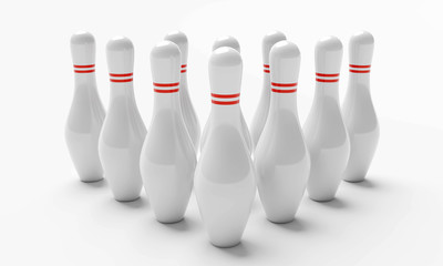 Aufstellung Bowling Kegel