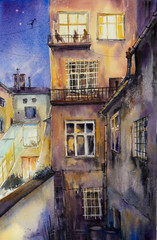 Night view of old courtyards of Krakow, Poland. Picture created with watercolors.
